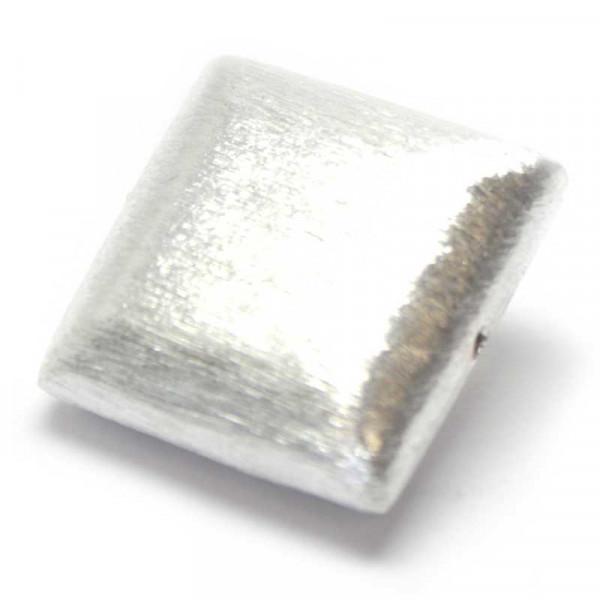 Wisilva Perlen, Quadrat, versilbert, gebürstet, 20x20 mm, 1 Stüc