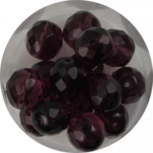 Glasschliffperlen, feuerpoliert, 10 mm, transp. dark amethyst