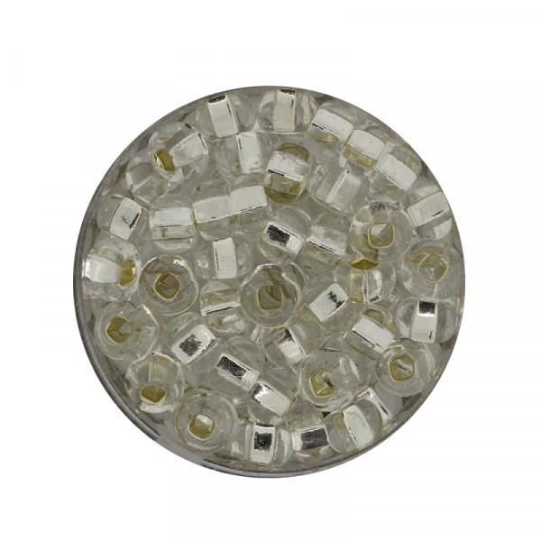 Rocailles, Silbereinzug, 6 mm, 16gr. Dose, kristall