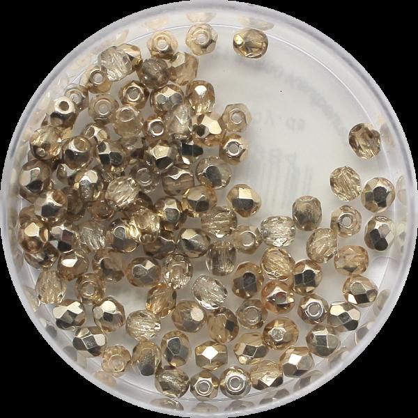 Glasschliffperlen Feuerpoliert, 3 mm, light col. topas