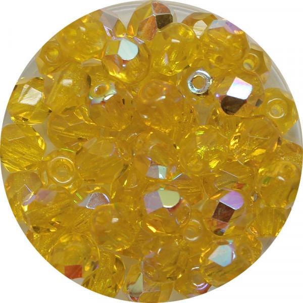 Glasschliffperlen, feuerpoliert, 6 mm, h. bedampft, gelb AB