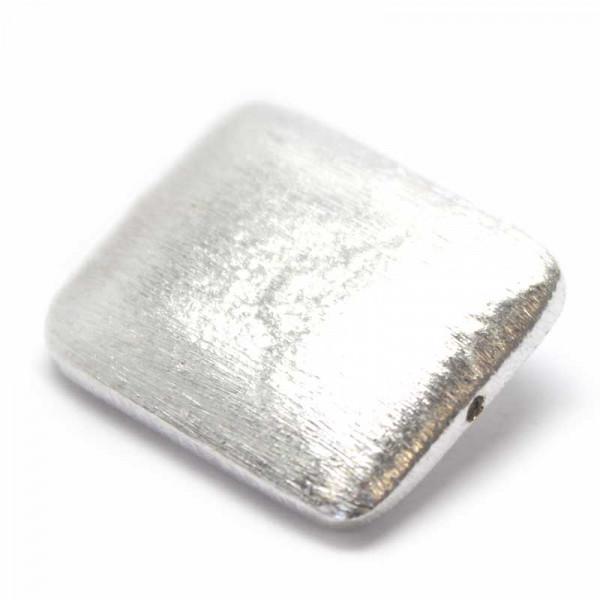 Wisilva Perlen, Rechteck, versilbert, gebürstet, 25x20 mm, 1 Stü