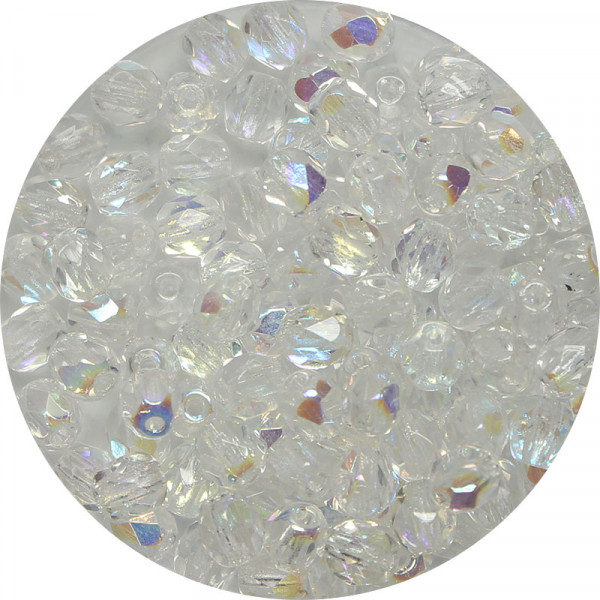 Glasschliffperlen, feuerpoliert, 4 mm, bedampft kristall AB