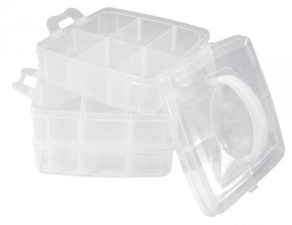 Sortierbox m. Tragegriff, 3 Etagen, 15,5 x 15,5 x 12,9 cm