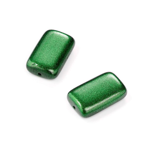 Metallic-Glasperle, Rechteck, 19x12 mm, 4 St, grün