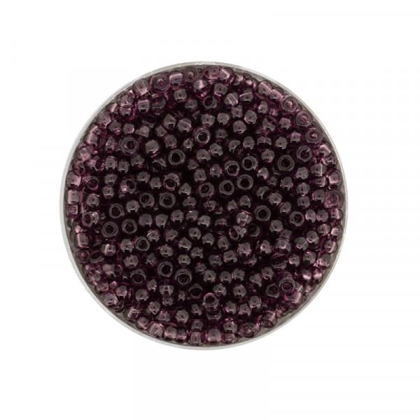 Mini-Rocailles, transparent glänzend, 1,0mm, 10gr. Dose, lila