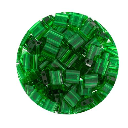Tila-Beads, 2-loch Viereck, 6gr. Dose,transparent green