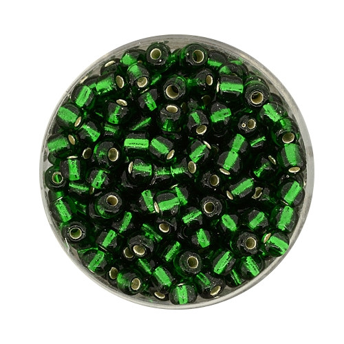 Rocailles aus China, 17gr. Dose, 4mm, dunkelgrün silbereinzug