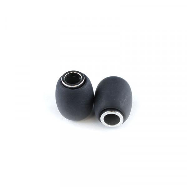 Polaris Großlochperlen matt, 15x12mm, schwarz