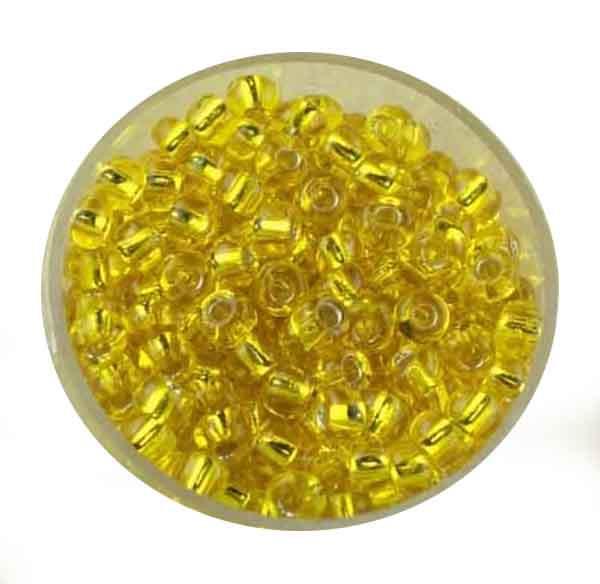 Rocailles, silbereinzug, 4,5mm, 17gr. Dose, gelb