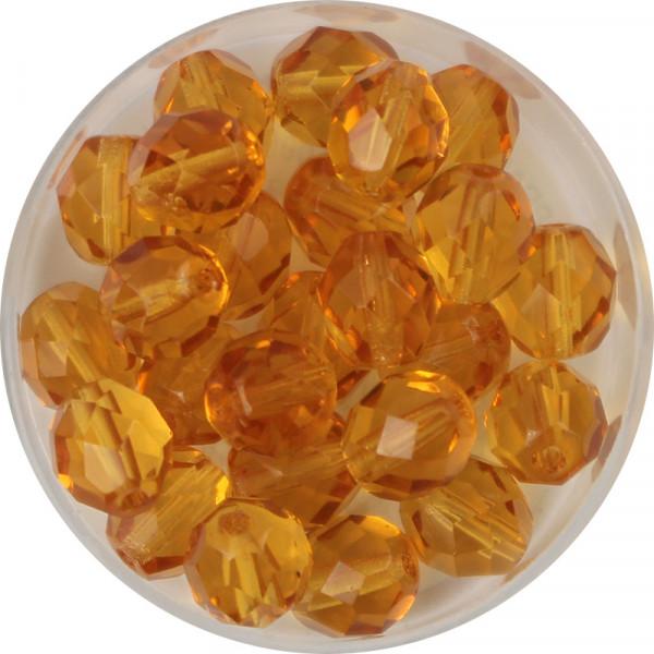 Glasschliffperlen, feuerpoliert, 8 mm, transp. topas