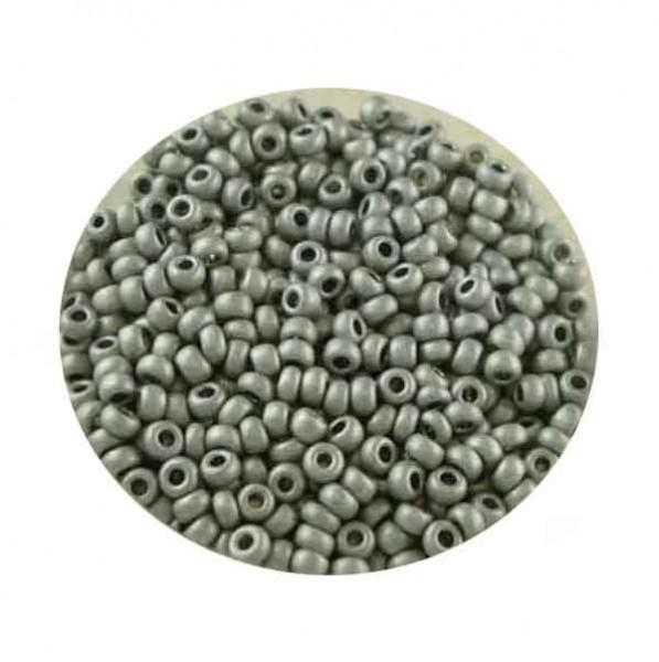 Metallicrocailles, matt, 2,6mm, 17gr. Dose, platinfb.