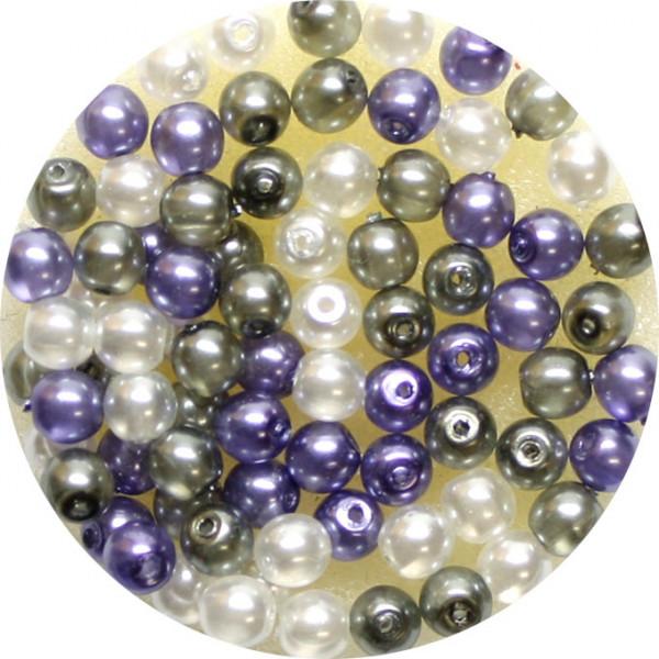 Crystal Pearl Renaissance, 4mm, 75 Stück, weiß-grau-violet
