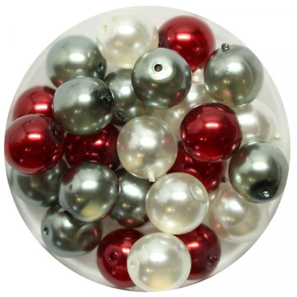 Crystal Pearl Renaissance, 8mm, 25 Stück, weiß-grau-rot