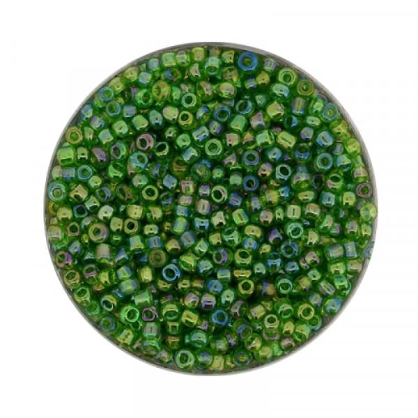 Rocailles aus China, 17gr. Dose, 2,6mm,transp. grün AB