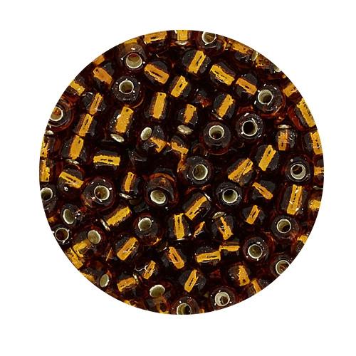 Rocailles aus China, 17gr. Dose, 4mm,braun silbereinzug