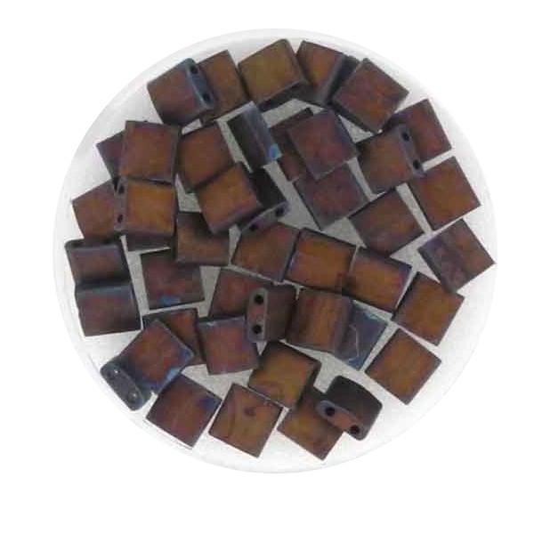 Tila-Beads, 2-loch Viereck, 4gr. Dose,red metallic matt