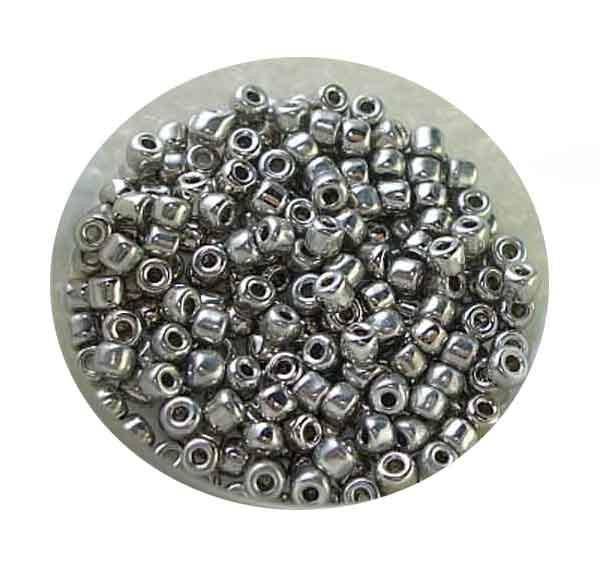 Rocailles, echt versilbert, 2,6mm, 10gr. Dose