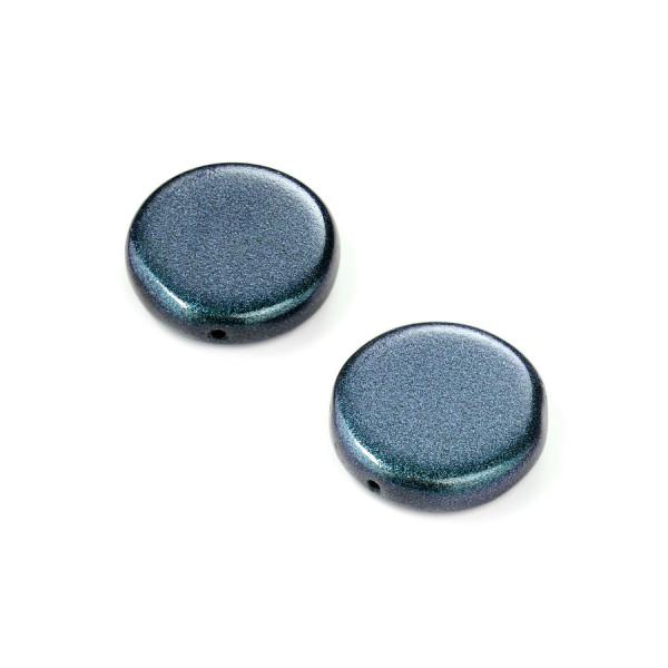 Metallic-Glasperle, Scheibe, 17 mm, 4 St, blau