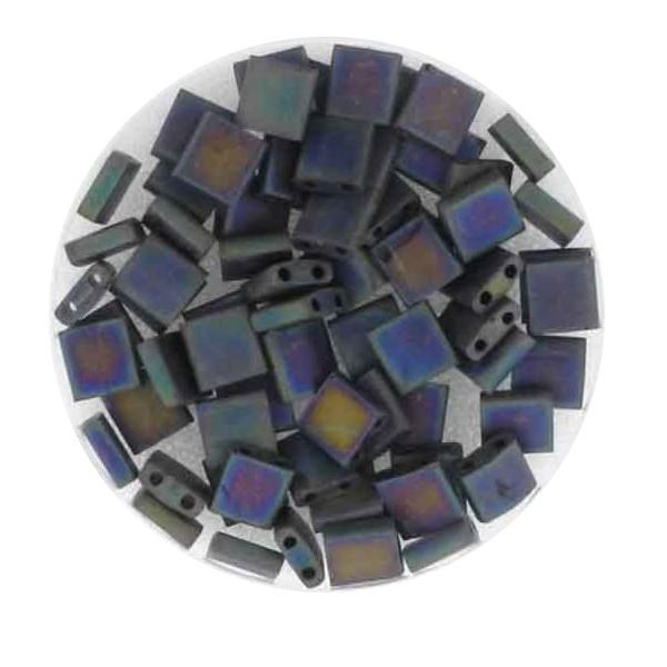 Tila-Beads, 2-loch Viereck, 6gr. Dose, black rainbow matt