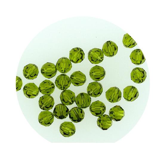 Swarovski Glasperlen, 6 mm, 5 Stück,oliv