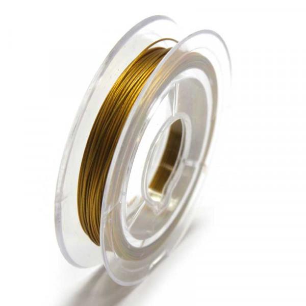 Edelstahldraht, nylonummantelt, 0,38 mm, goldfarben