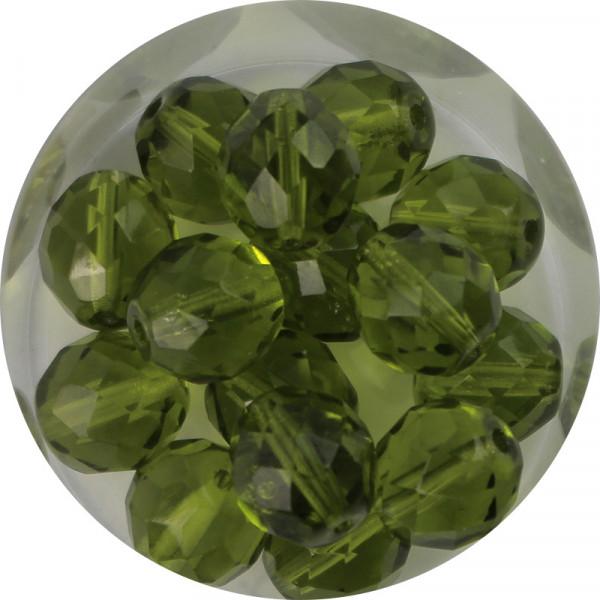 Glasschliffperlen, feuerpoliert, 10 mm, transp. oliv