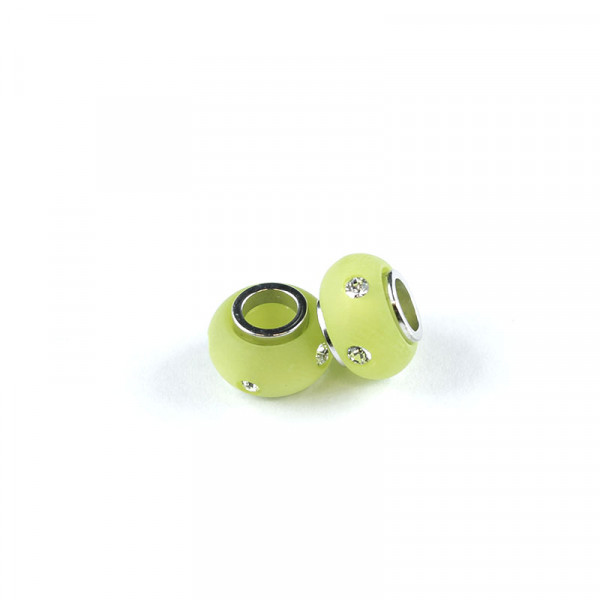 Polaris Strass Großlochperlen, 8x12mm, kiwi-grün