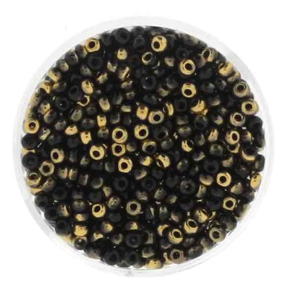 Rocailles, echtgold-schwarz, 2,6mm, 10gr. Dose