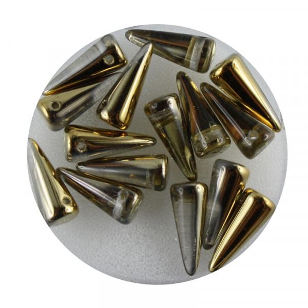 Spike Beads,5x13mm,15 Stück,goldfb. halb bedampft