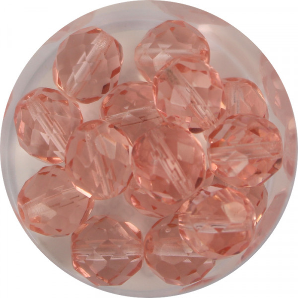 Glasschliffperlen, feuerpoliert, 10 mm, transp. rosalin