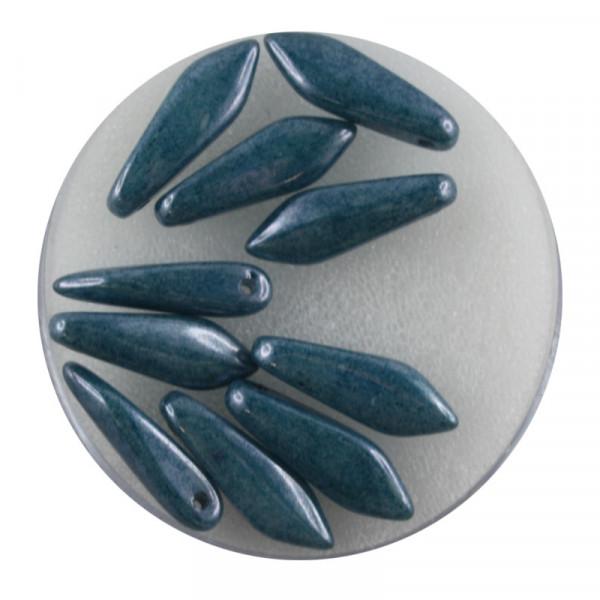 Dagger-Beads, 10 Stück pro Dose, 16x5mm, dunkel türkis