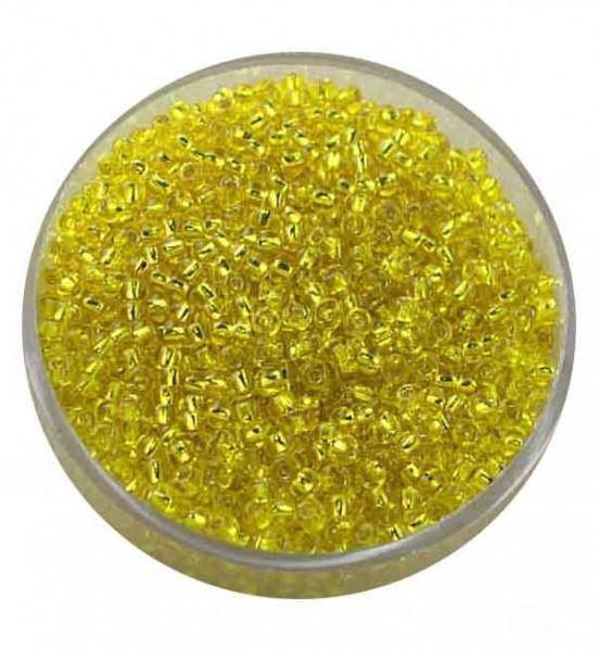 Rocailles, silbereinzug, 2,0mm, 17gr. Dose,gelb