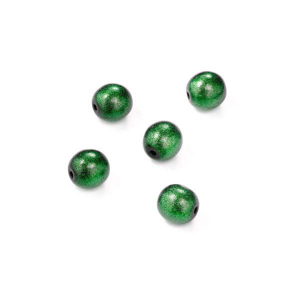 Metallic-Glasperle, rund, 7 mm, 20St, grün