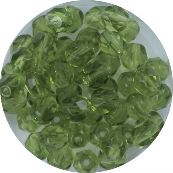 Glasschliffperlen, feuerpoliert, 6 mm, transparent olivin