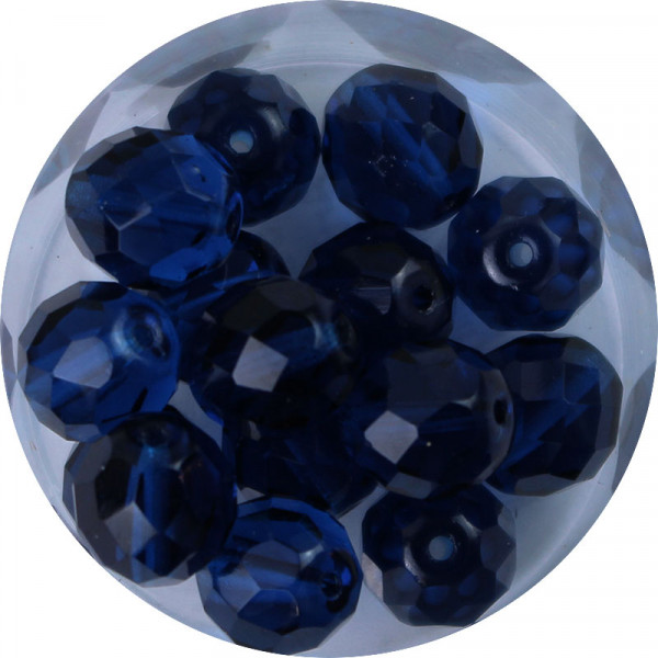 Glasschliffperlen, feuerpoliert, 10 mm, transp. capriblau