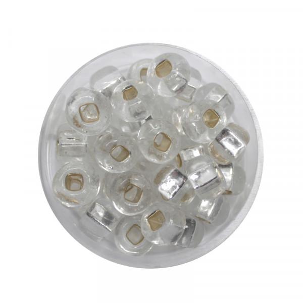 Rocailles, Silbereinzug, 8 mm, 15gr. Dose, kristall