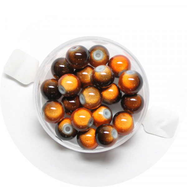 Miracle-Beads Glasperlen, 20 Stck., 8mm, braun-orange