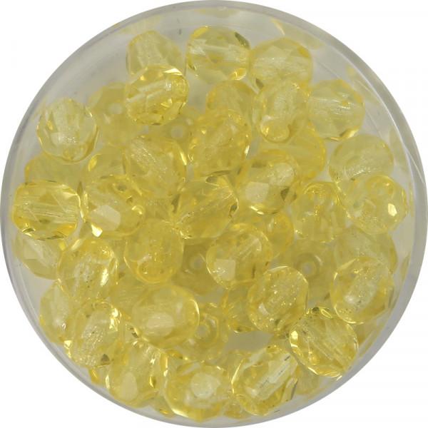 Glasschliffperlen, feuerpoliert, 6 mm, transp. hellgelb