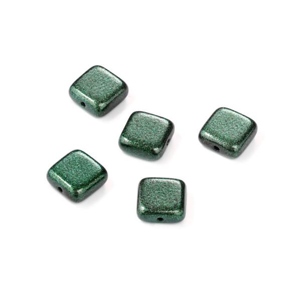 Metallic-Glasperle, Quadrat, 8x8mm, 12St, grün
