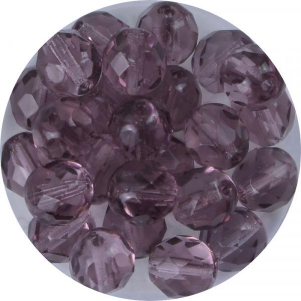 Glasschliffperlen, feuerpoliert, 8 mm, transp. amethyst