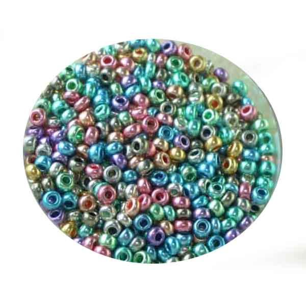 Metallicrocailles, glänzend, 2,6mm, 17gr. Dose, mix