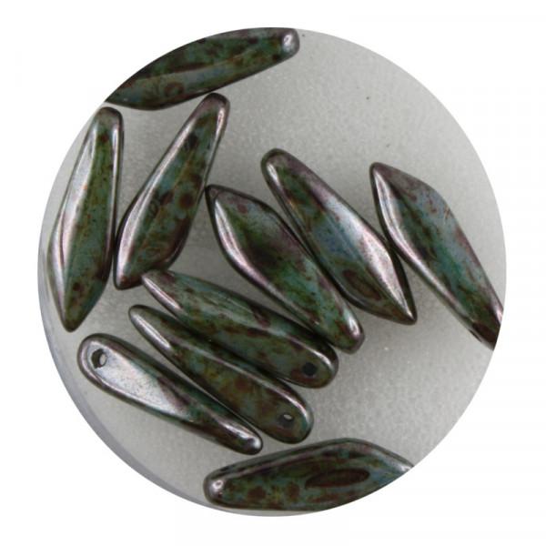 Dagger-Beads, 10 Stück pro Dose, 16x5mm, türkis oxyd