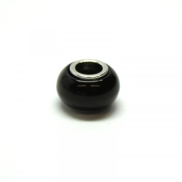 Polaris Großlochperlen, 8x12mm, schwarz