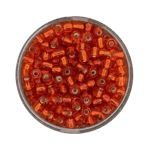 Rocailles aus China, 17gr. Dose, 4mm, orange silbereinzug