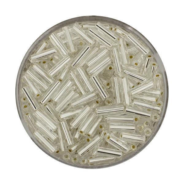 Glasstift, Silbereinzug, 6 mm, 17gr. Dose, kristall