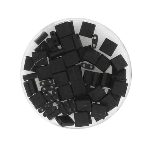 Tila-Beads, 2-loch Viereck, 6gr. Dose,black matt