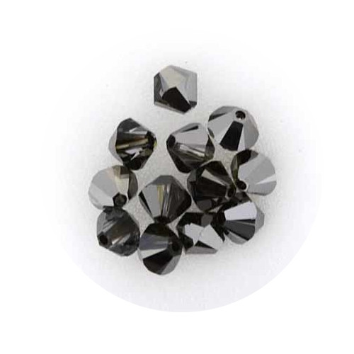 Swarovski Doppelkegel, 6 mm, 12 Stück,crystal silver night