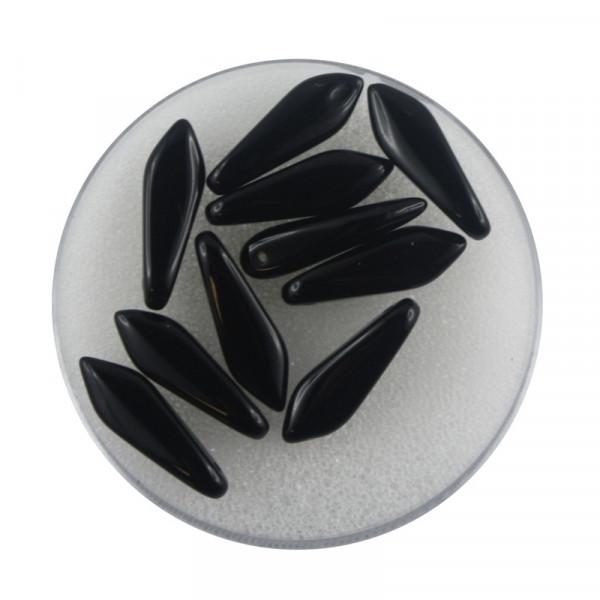 Dagger-Beads, 10 Stück pro Dose, 16x5mm,satt schwarz