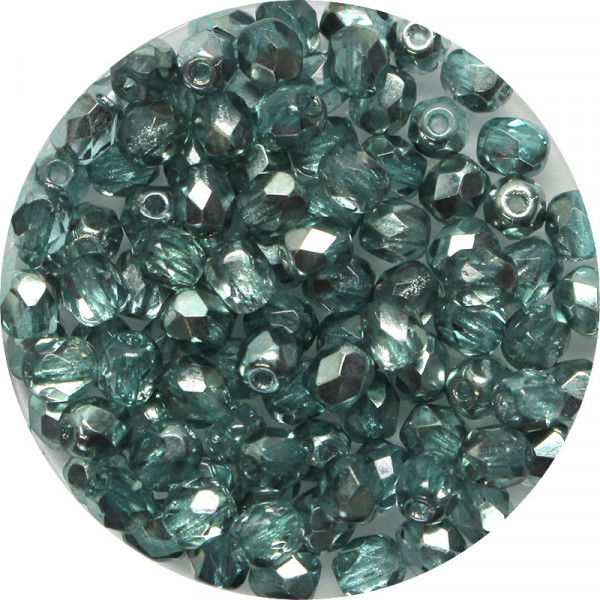 Glasschliffperlen, feuerpoliert, 4 mm, bed. blau-grün-halbsilber